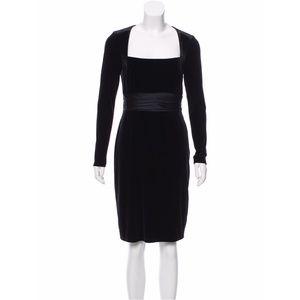 David Meister Black Long Sleeve Velvet Dress